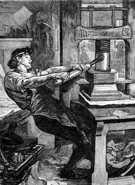古騰堡借用製作葡萄酒的旋壓機去大大改進印刷術